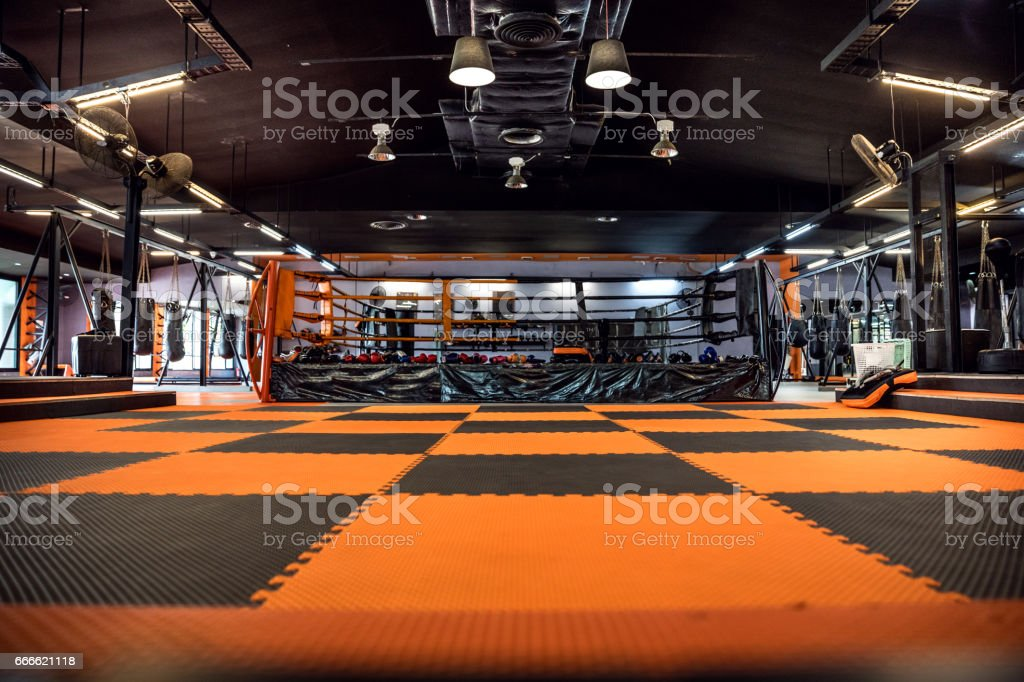 Modern thai boxing gym in Thailand stock photo
