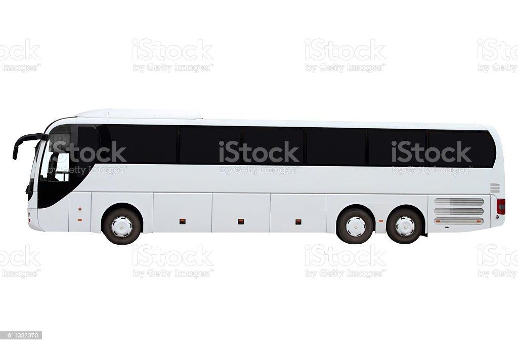 Modern three-axle bus. stock photo