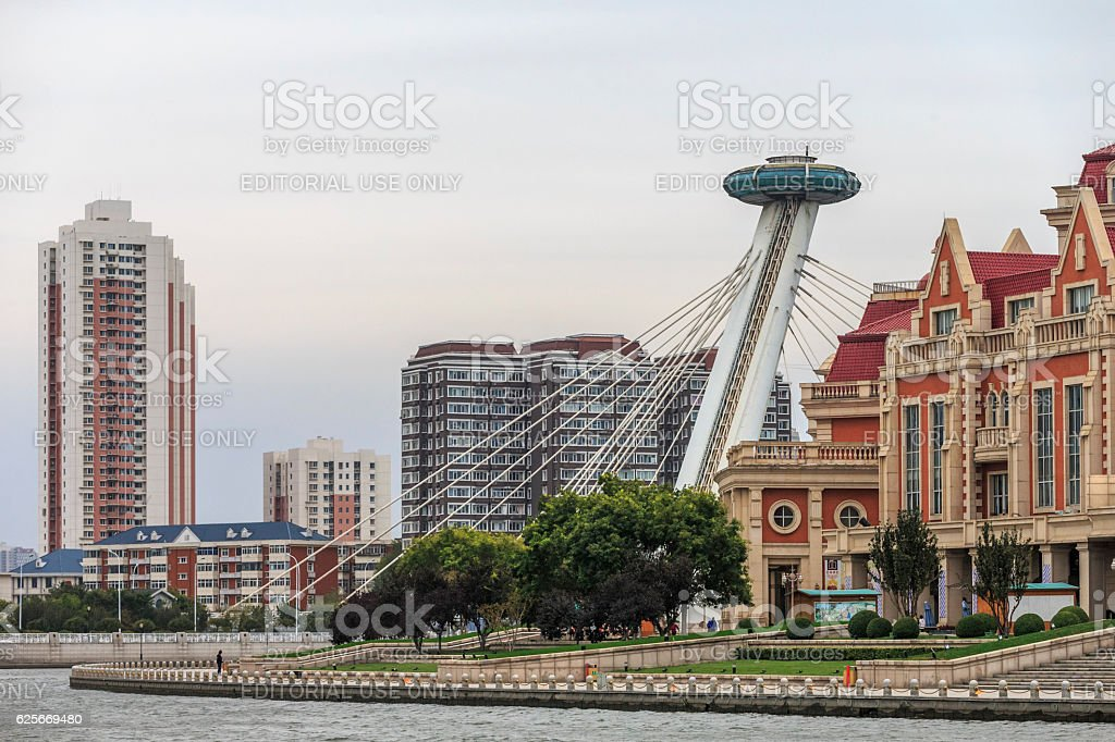 modern tianjin Dowtown Water Front View, China stock photo
