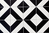 Modern Tile Wall With Black and White Pattern.Black and white ceramic tiles floor.