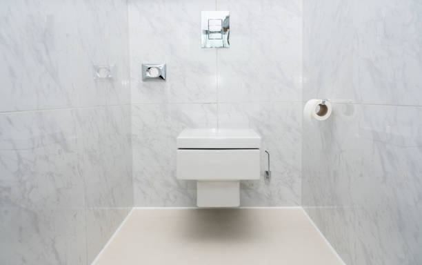 Modern tiled WC or toilet bowl wall mounted stock photo