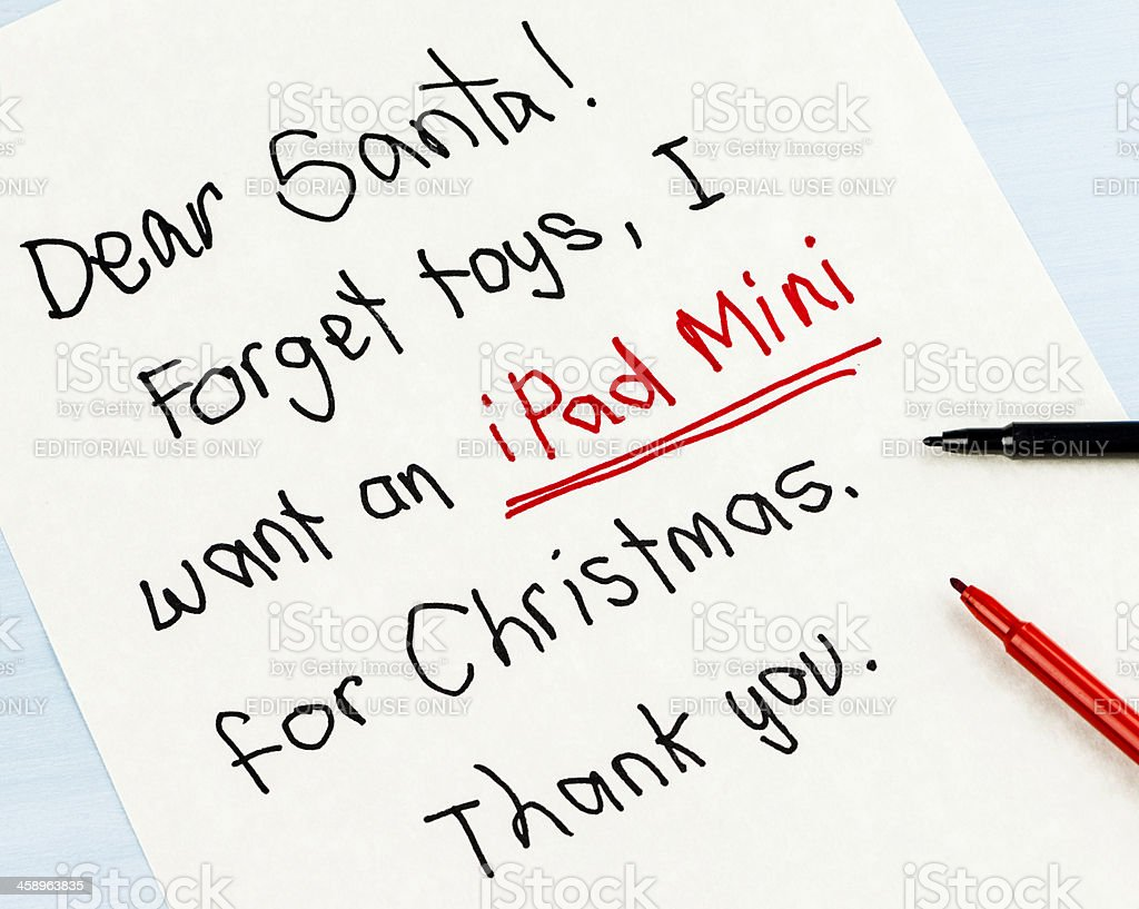 Modern Times Letter to Santa: I want an iPad Mini royalty-free stock photo