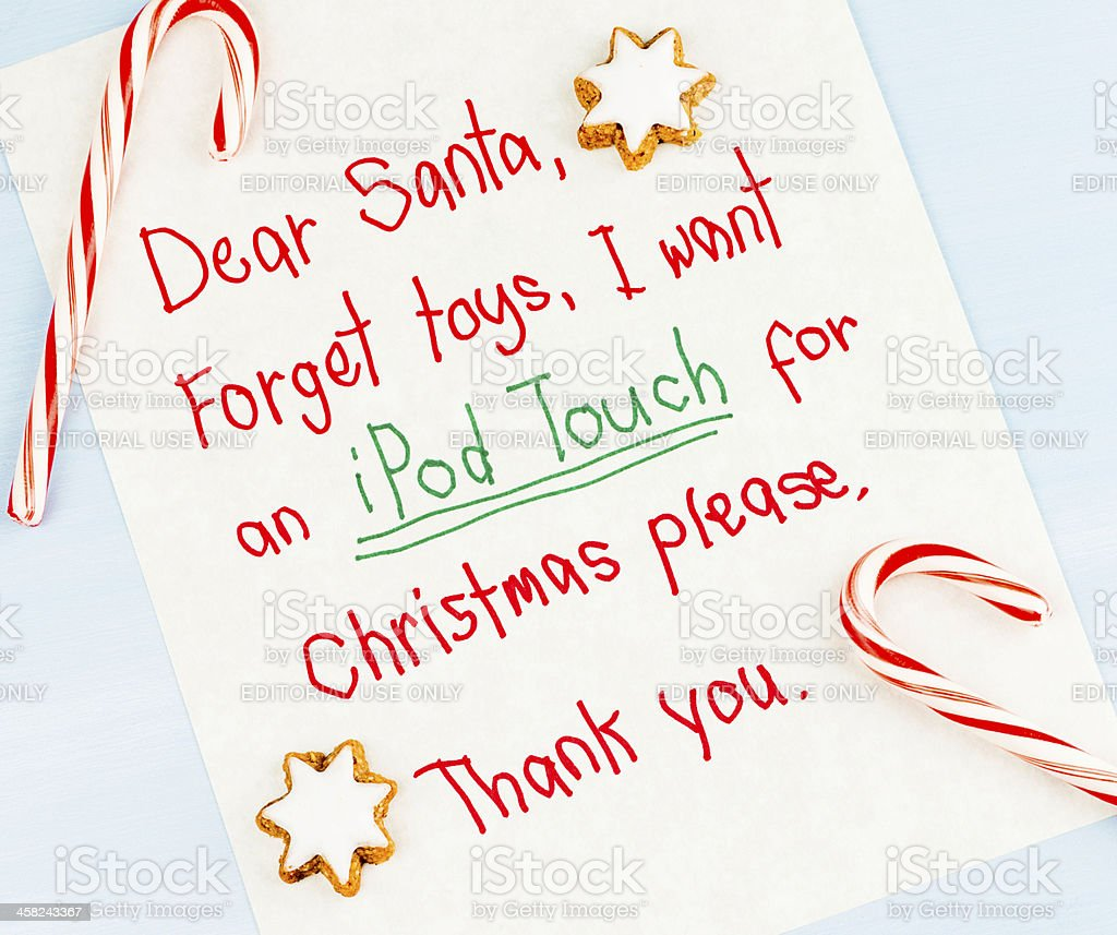 Modern Times Letter to Santa: I want an iPod Touch stock photo