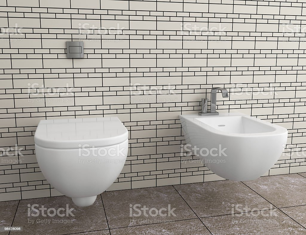 modern toilet with beige tile on wall royalty-free stock photo