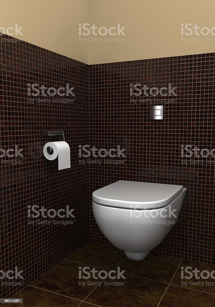 modern toilet with brown tiles on wall and floor royalty-free stock photo