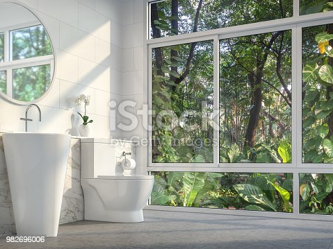 487881729 istock photo Modern toilet with nature view 3d render 982696006