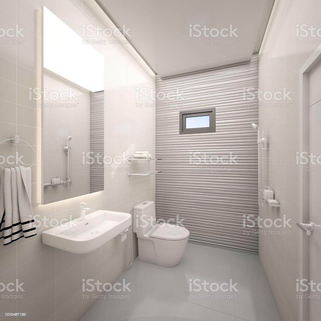 Moderne Toilette Mit Textur Kacheln Wand Im Haus 3drendering ...