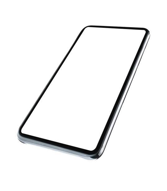 moderne touch-screen-smartphone isoliert auf weißem hintergrund mit beschneidungspfad - winkel stock-fotos und bilder