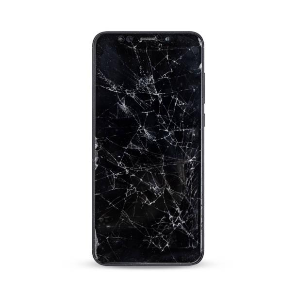 moderne touch screen smartphone stijl zwarte kleur met gebroken scherm - breuk stockfoto's en -beelden