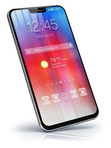 Creative abstract mobile phone wireless communication technology and mobility business office concept: 3D render illustration of modern metal black glossy touchscreen smartphone with colorful application interface with color icons and buttons isolated on white background with reflection effect