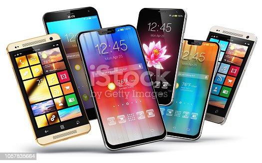 istock Modern touchscreen smartphones 1057835664