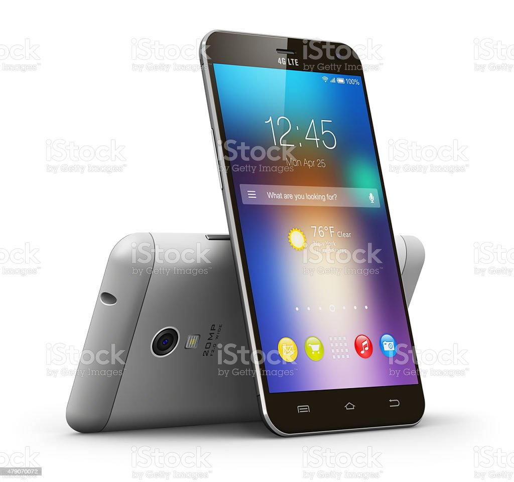 Modern touchscreen smartphones stock photo