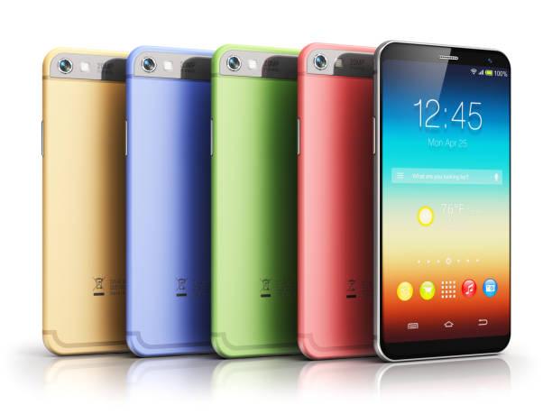 Modern touchscreen smartphones stock photo
