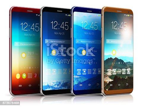 istock Modern touchscreen smartphones 873678468
