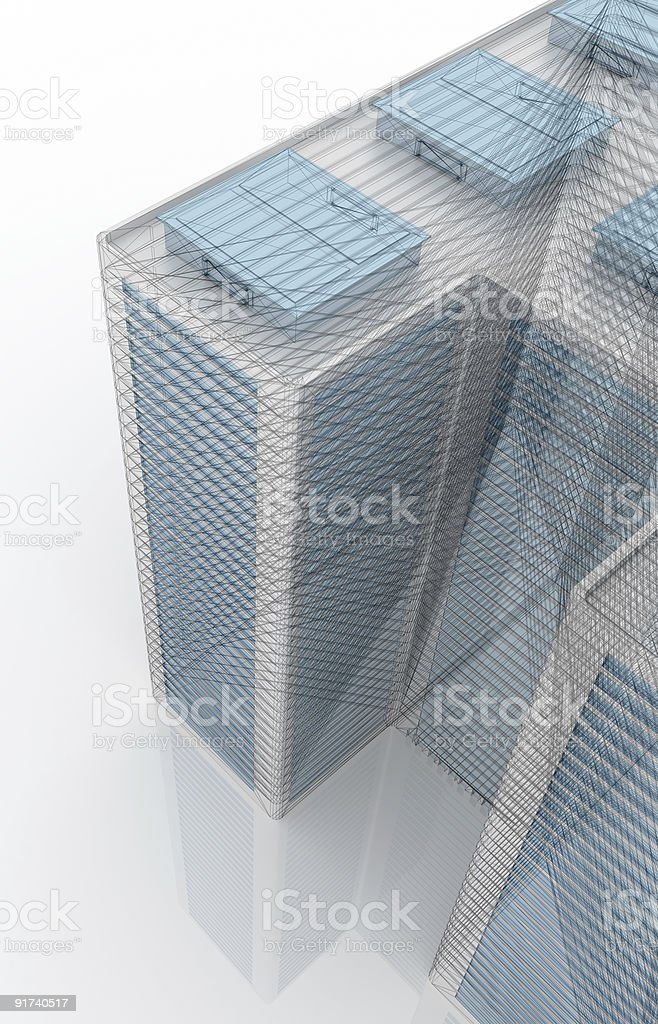 Modern tower wireframe (from top) royalty-free stock photo