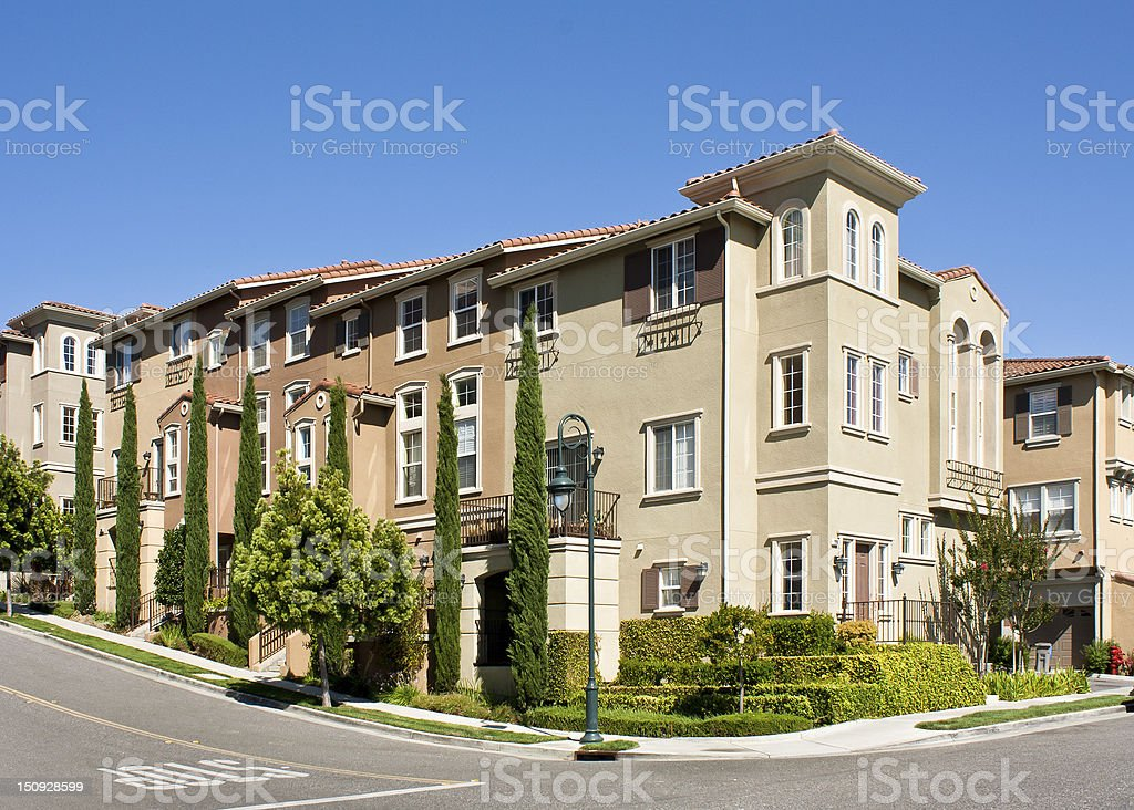 Modern town homes with street corner stock photo