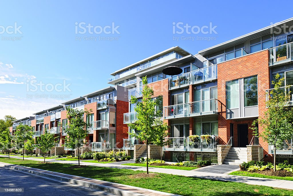 Modern town houses stock photo