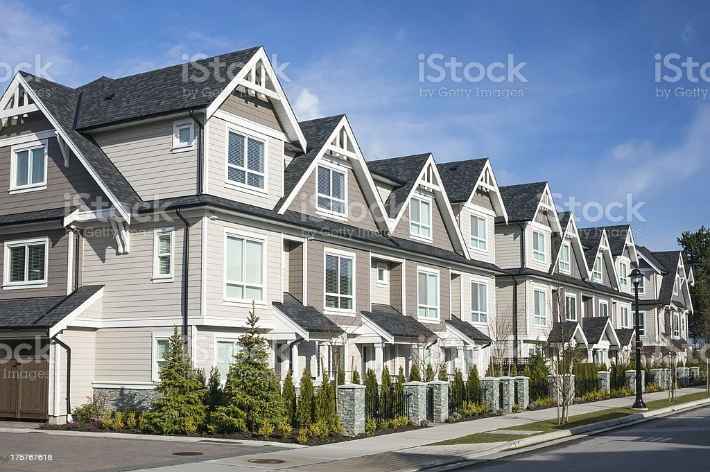 Modern townhouse complex stock photo