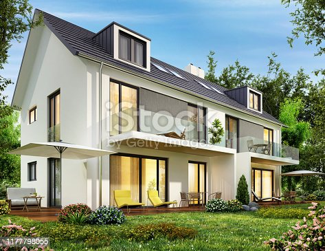 Modern house with terrace and big window