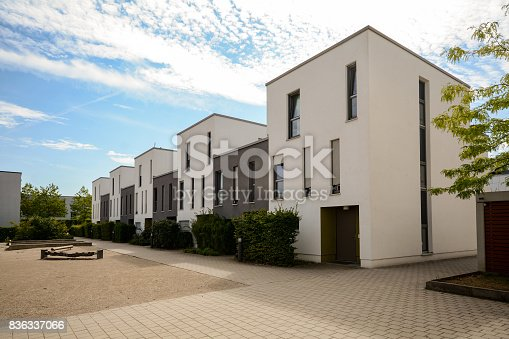 istock Modern townhouses in a residential area, new apartment buildings with green outdoor facilities in the city 836337066