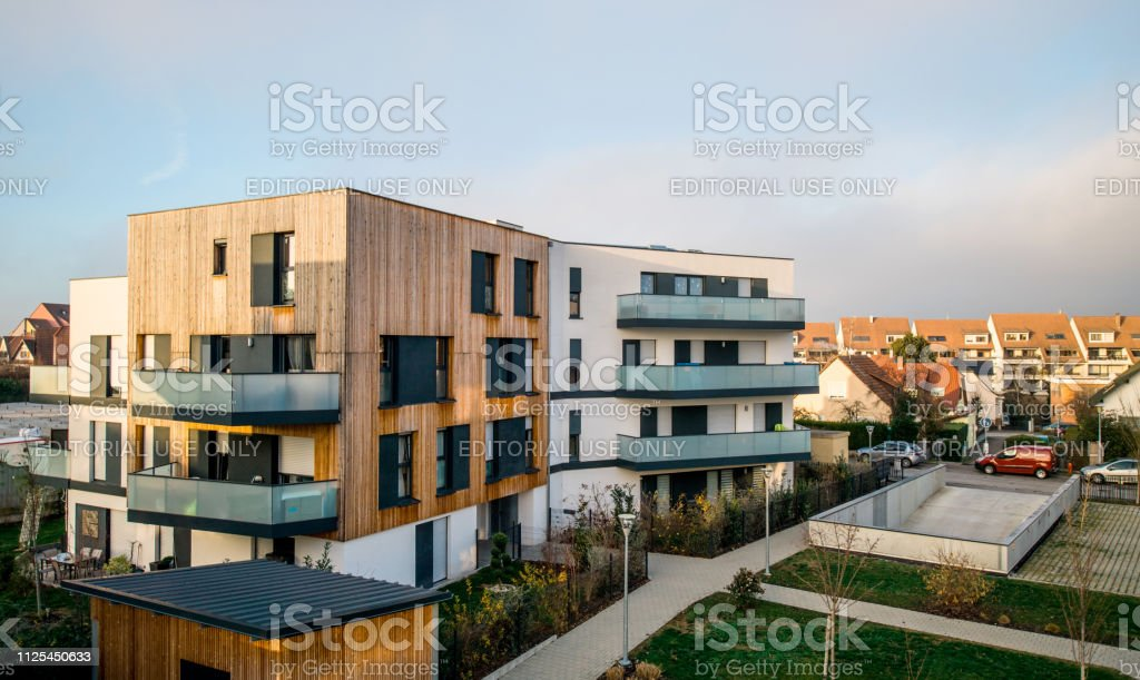Modern townhouses in a residential area stock photo