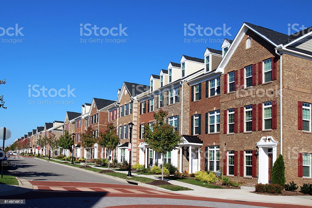 Modern townhouses stock photo