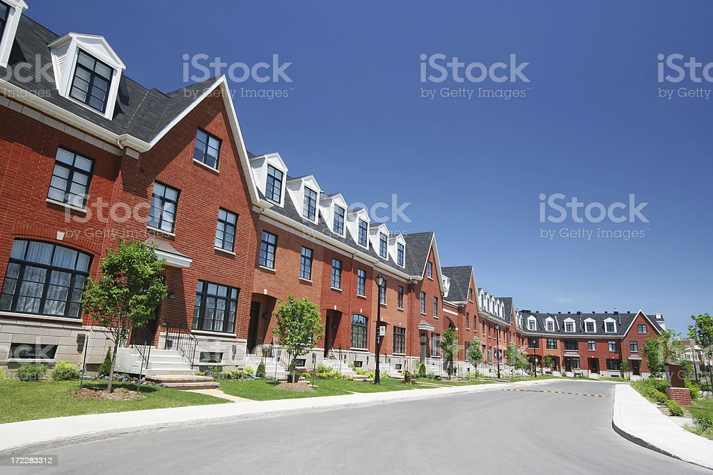Modern Townhouses Street royalty-free stock photo