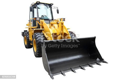 Modern tractor isolated on a white background.