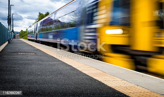 Modern train in railway station in Newtongrange, Scotland , Uk