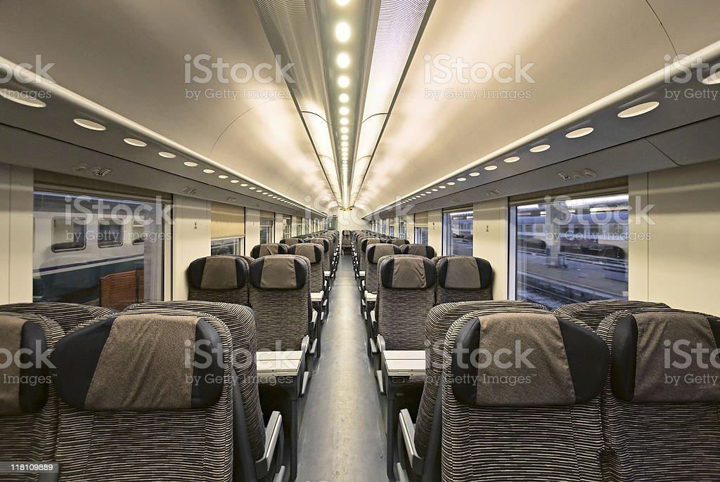 Modern train interior stock photo