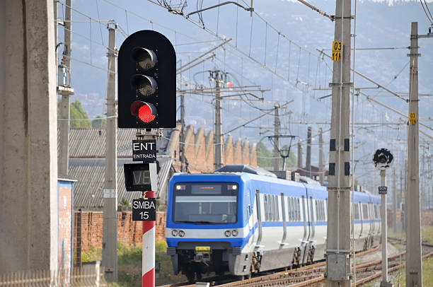modern train - railway signal stock photos and pictures