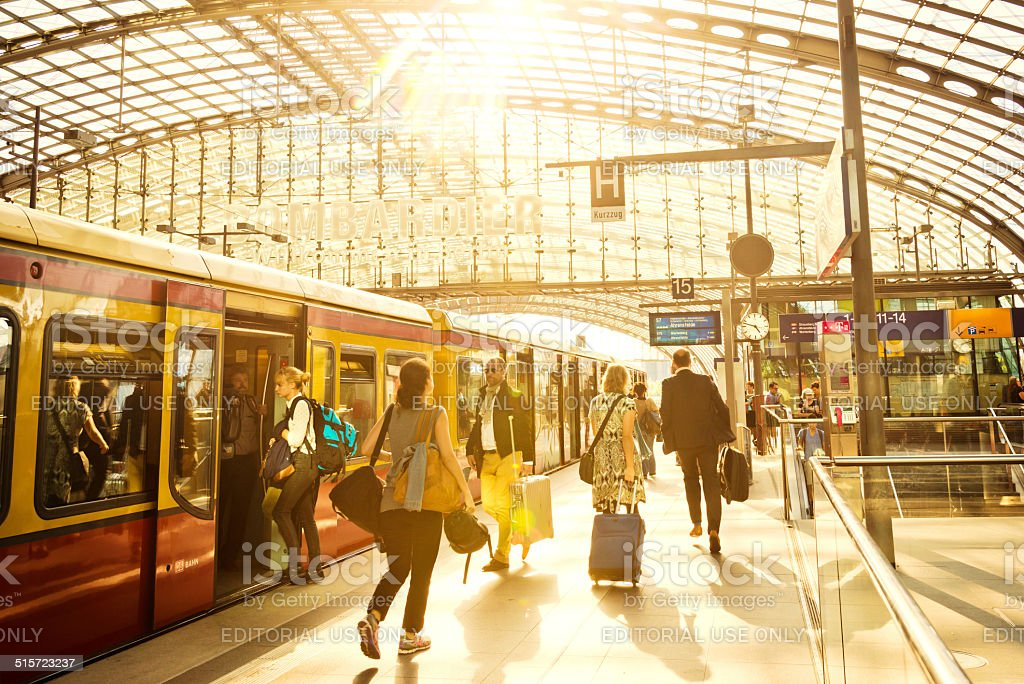 Modern Train Station in Berlin stock photo