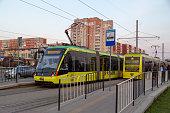 Lviv, Ukraine - 04-14-2019: Modern tram electric lines through the city.