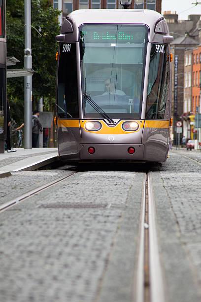 Modern tram in Dublin, Ireland stock photo