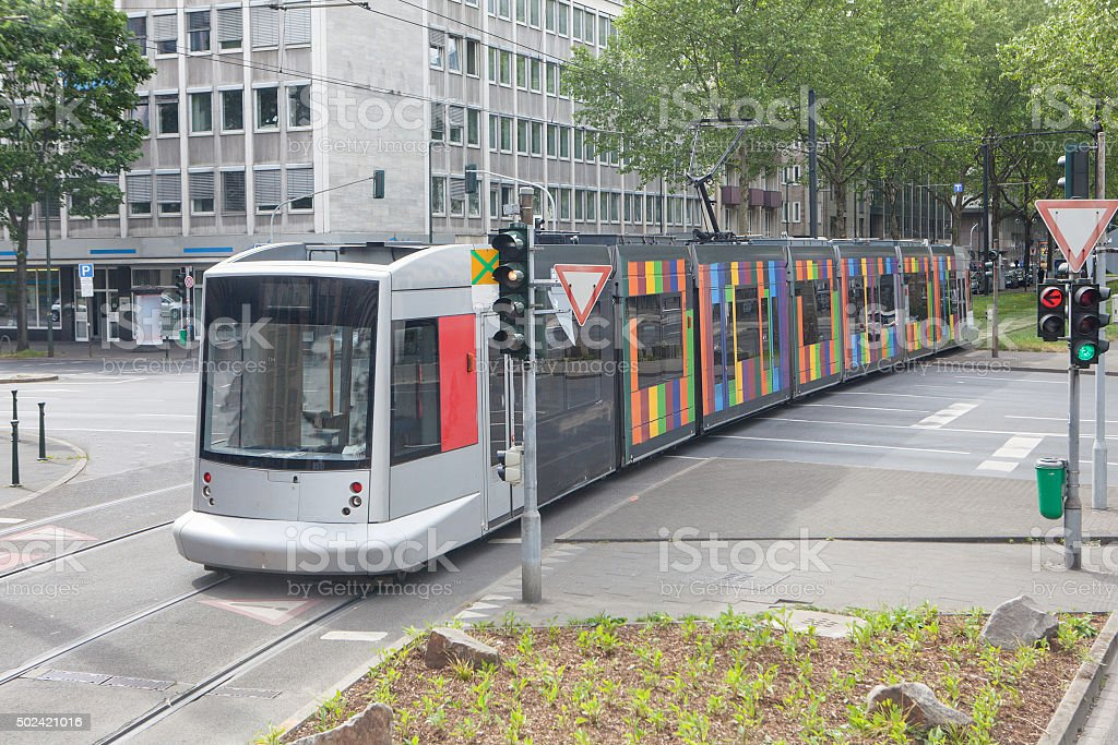 Modern tram in Dusseldorf, Germany stock photo