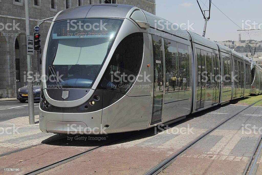 modern tram in old Jerusalem stock photo