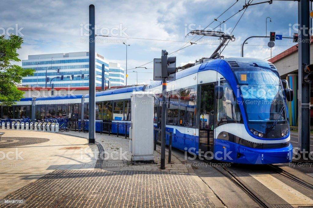 Modern Tram on the platform station, Krakow, Poland stock photo