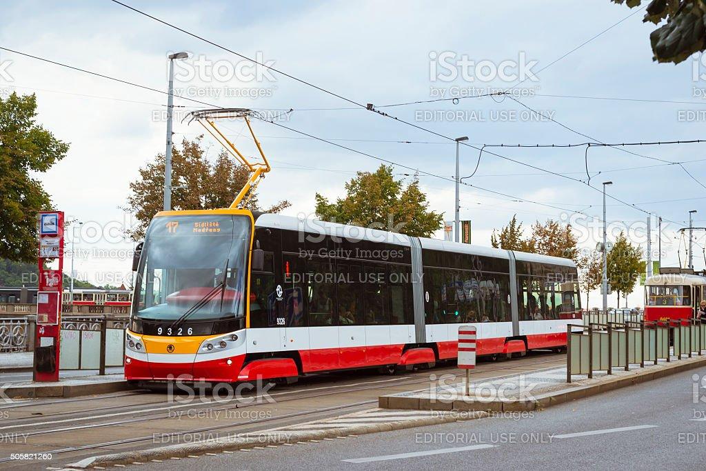 Modern tram Skoda stock photo