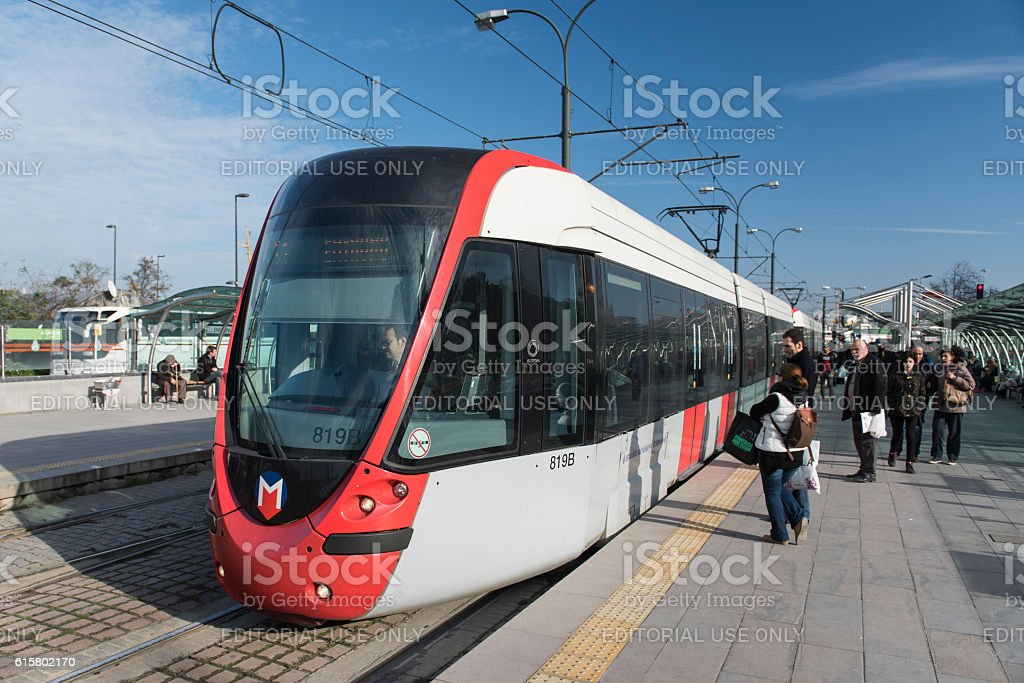 Modern Trams Eminonu, Istanbul stock photo