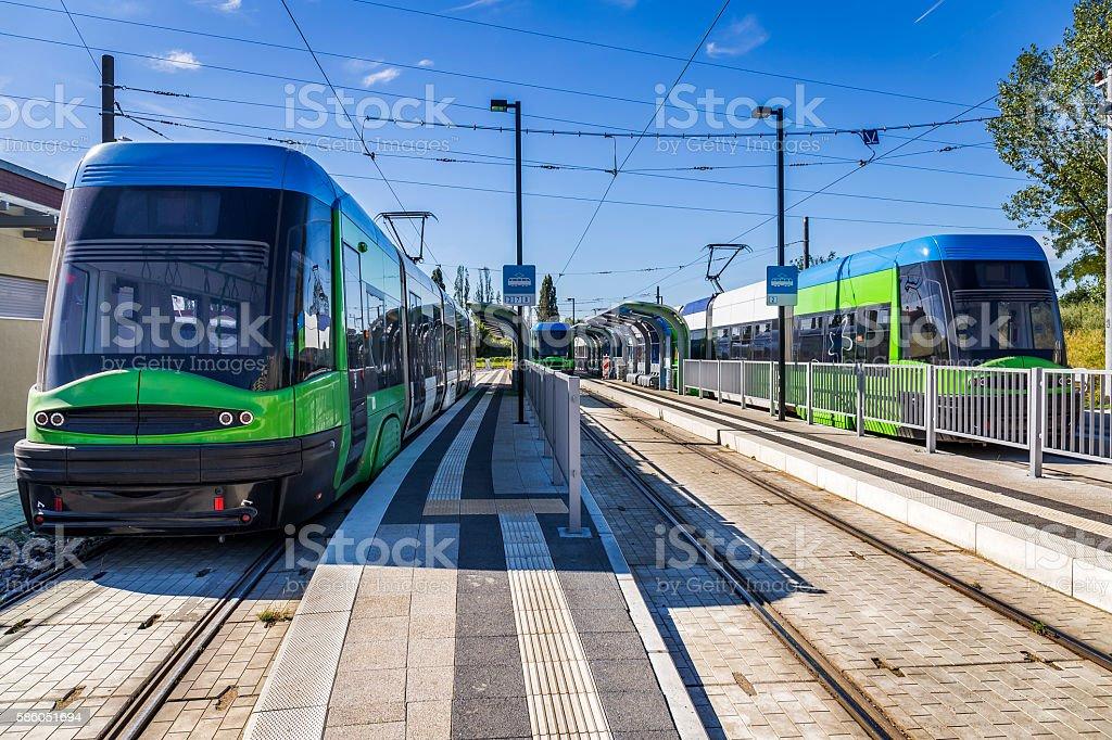 Modern Trams on the platform, Szczecin, Poland stock photo