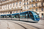 A modern electric tramway in Bordeaux, France