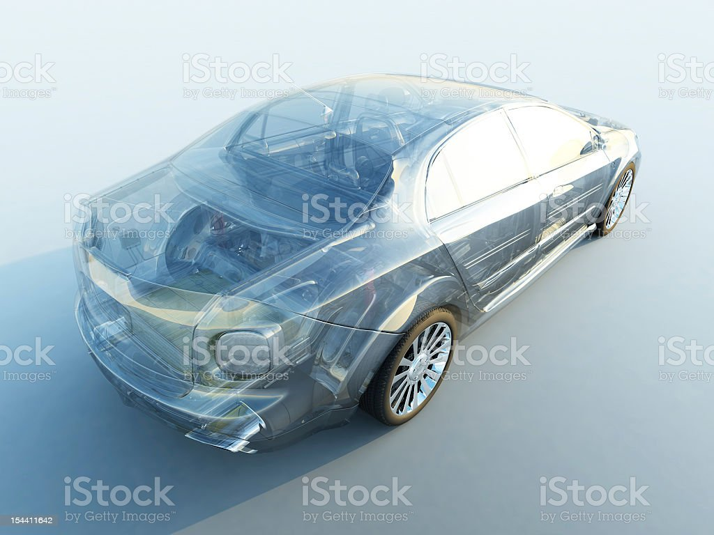 A modern transparent car on white stock photo