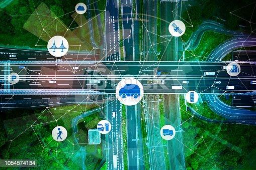 Modern transportation and automotive technology. Misato junction.
