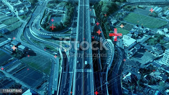 istock Modern transportation and communication network concept. 1154371640