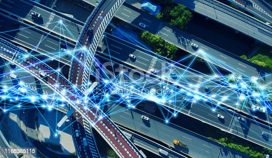 istock Modern transportation and communication network concept. 1168365115