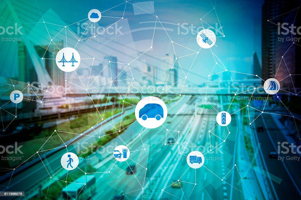modern transportation and communication network - foto de stock