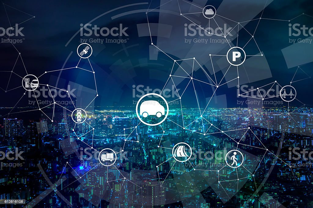 modern transportation and communication network stock photo