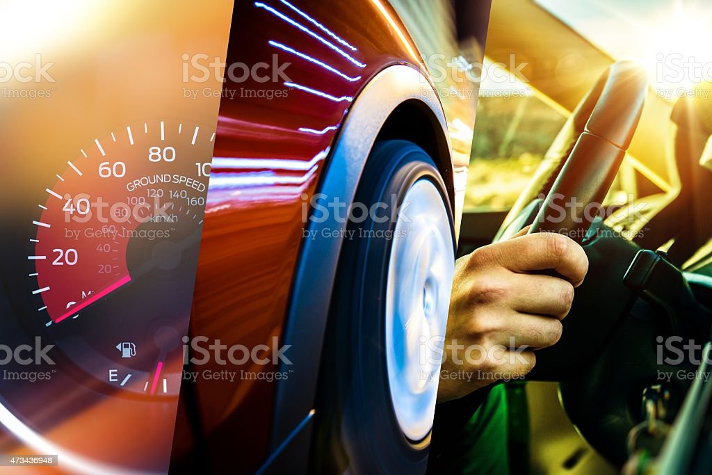 Modern Transportation Concept Modern Transportation Concept. Car and Driver. Driving Photo Mosaic. 2015 Stock Photo