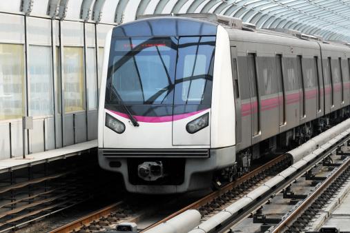 High speed train traffic through city
