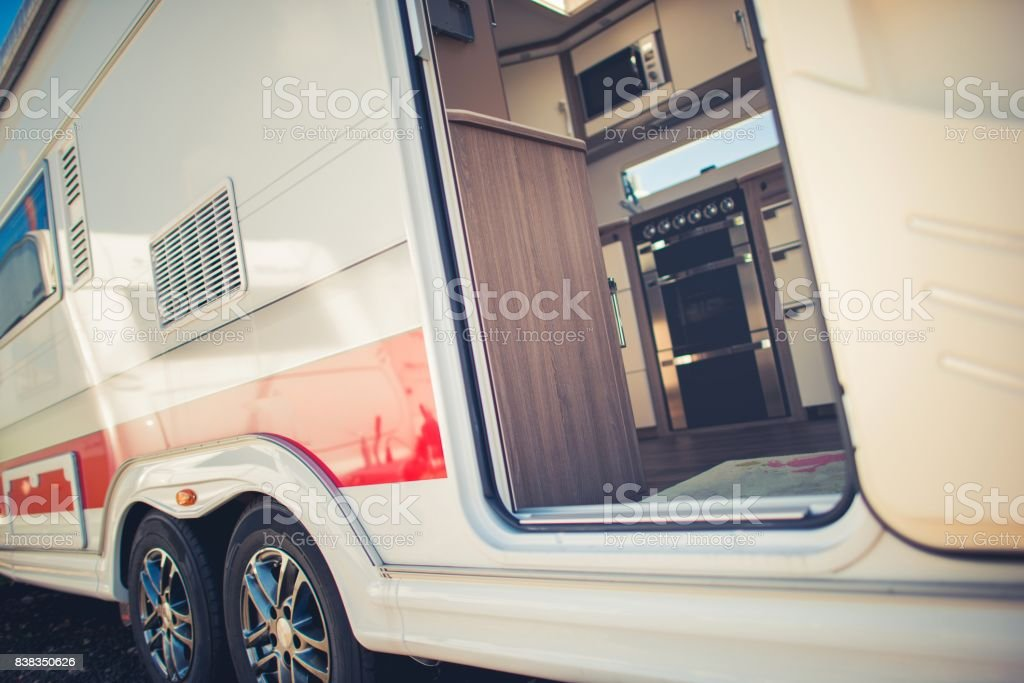 Modern Travel Trailer Camping stock photo